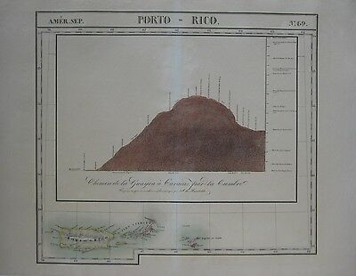 Original 1825 Vandermaelen Map PUERTO RICO VIRGIN ISLANDS ANGUILLA West Indies