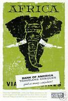 BANK of AMERICA-travelers cheques-Africa-elefante-money