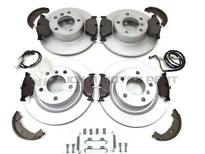 BMW E46 320 D M SPORT FRONT AND REAR BRAKE DISCS /& PADS SHOES SENSORS FITTINGKIT