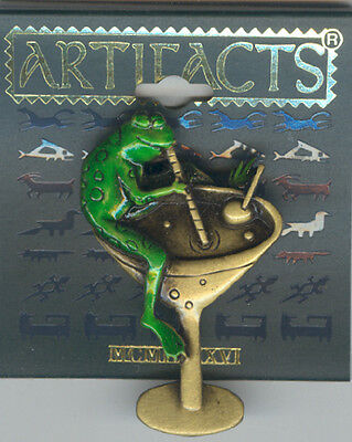 Dark Green Frog Sipping Cocktail Pin by JJ - Gift Boxed