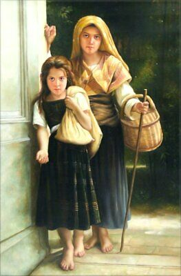 Hand Painted Oil Painting Repro Bouguereau The Little Beggar Girls 24x36in