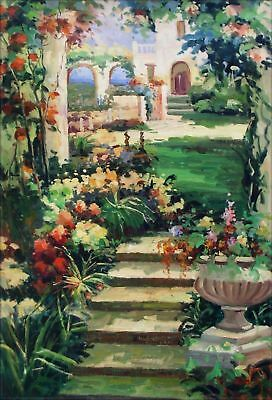 Quality Hand Painted Oil Painting Garden Stairway 24x36in