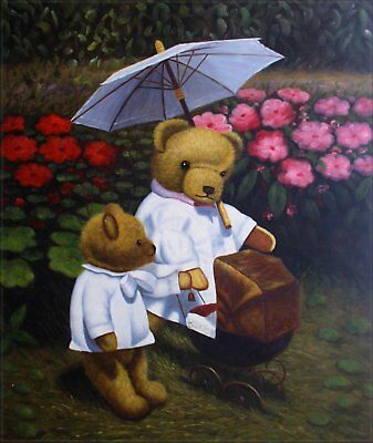 Hand Painted Oil Painting Mother and Kid Teddy Bears 20x24in