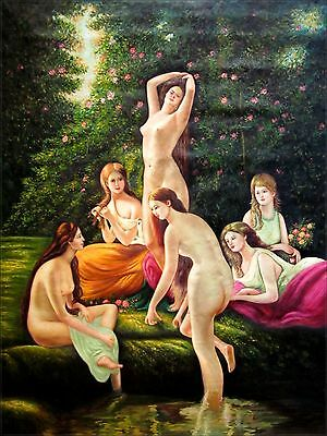 Hand Painted Oil Painting Nudes playing in the Garden 36x48in