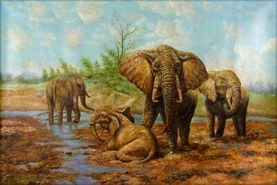 Hand Painted Oil Painting Quenching African Elephants 24x36in