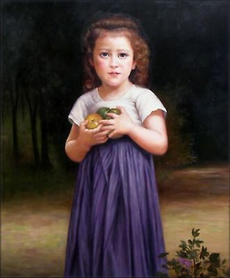 Hand Painted Oil Painting Repr Bouguereau Little girl holding apples 20x24in