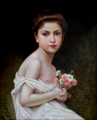 Hand Painted Oil Painting Repro Bouguereau Little Girl w/a Bouquet 20x24in