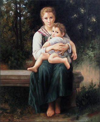 Quality Hand Painted Oil Painting Repro Bouguereau The Two Sisters 20x24in