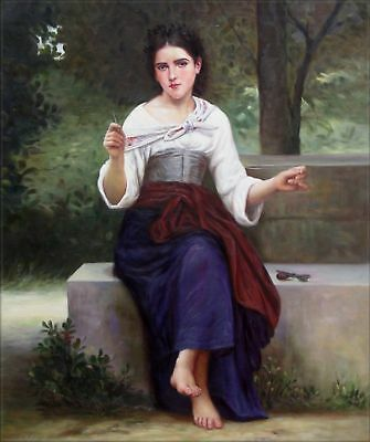 Quality Hand Painted Oil Painting Repro Bouguereau Thoughts, 1893 20x24in