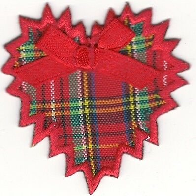 """2"""" x  2"""" Red Plaid Christmas Holiday Jagged Heart Embroidery Patch"""