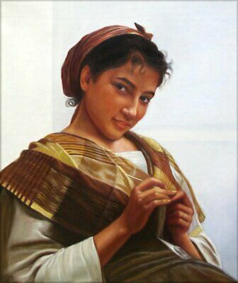 Hand Painted Oil Painting Repro Bouguereau Young Girl Crocheting 20x24in