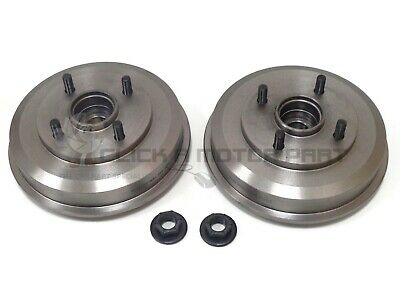 Ford Fiesta Mk6 2002-2007 Rear 2 Brake Drums + 2 Fitted Wheel Bearings +Hub Nuts