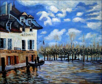 Quality Hand Painted Oil Painting Repro Sisley Bank during Flood 20x24in