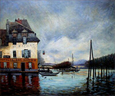 Quality Hand Painted Oil Painting Repro Sisley The Flood Port Marly 20x24in