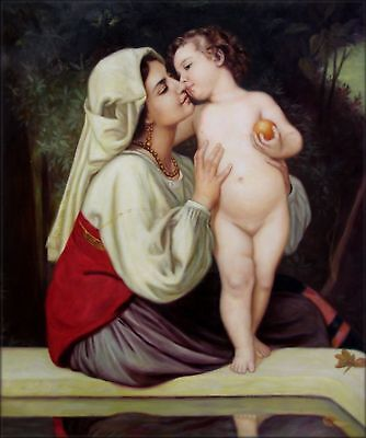 Quality Hand Painted Oil Painting Repro Bouguereau The Kiss, 1863 20x24in