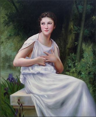 Quality Hand Painted Oil Painting Repro Bouguereau Reflection 1897 20x24in
