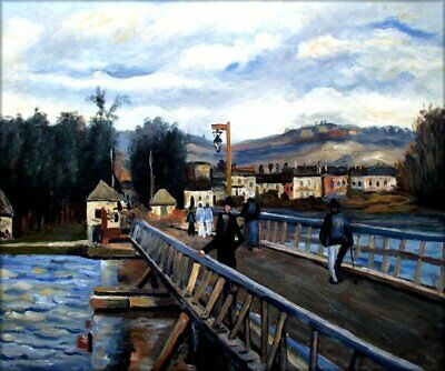 Alfred Sisley Footbridge at Argenteuil Repro, Hand Painted Oil Painting 20x24in