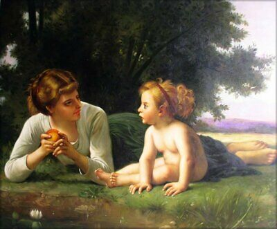 Quality Hand Painted Oil Painting Repro Bouguereau Temptation 1880, 20x24in