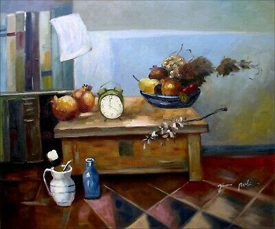 Quality Hand Painted Oil Painting Still Life with Clock and Fruits 20x24in