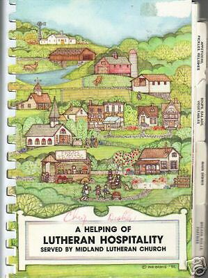 *MIDLAND TX 1985 VINTAGE *A HELPING OF LUTHERAN HOSPITALITY COOK BOOK *CHURCH