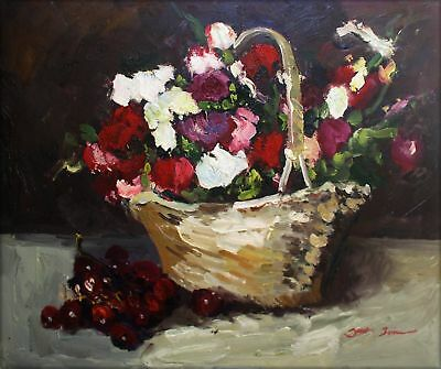Hand Painted Oil Painting Still Life w/ Basket of Floral & Cherries 20x24in