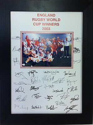 England 2003 Rugby World Cup Signed  A4 Print Framed