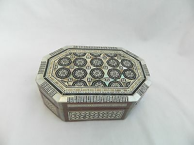 "Egyptian Octagonal Mother of Pearl Inlaid Jewelry Box 6""X 4"""