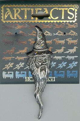 Pewter Wizard with Crystals on Hat Pin by JJ