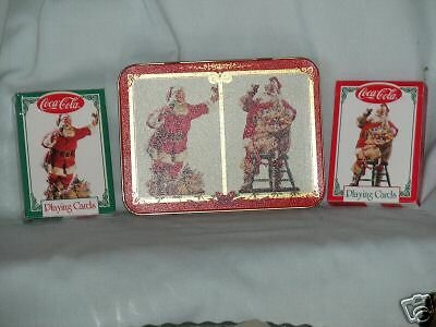 Coca-Cola Santa Playing Cards W/ Tin 2 Decks 1 Sealed