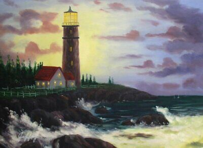 Quality Hand Painted Oil Painting Conquering the Storm 12x16in
