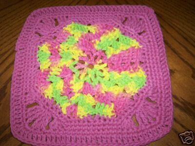 Hand Crochet 100% Cotton Dish Cloth  Pink Green Yellow