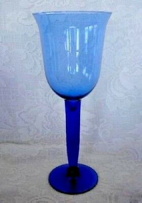 Set of 4 Tall Cobalt Blue Blown Solid Glass Stemmed Wine Goblets- MORE AVAILABLE