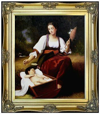 Framed Hand Painted Oil Painting Repro Bouguereau Lullaby, 1875 20x24in