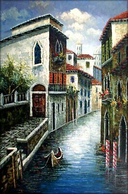 Quality Hand Painted Oil Painting Venice Waterway with a Gondola 24x36in