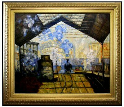 Framed Claude Monet Care Saint-Lazare Repro, Hand Painted Oil Painting 20x24in