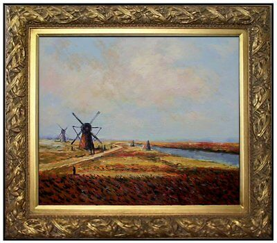 Framed Hand Painted Oil Painting Repro Repro Claude Monet Bulb Field 20x24in