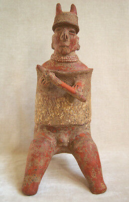 Magnificent Pre-Columbian NAYARIT SEATED WARRIOR