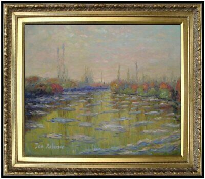 Framed Oil Painting Claude Monet Floating Ice Near Vetheuil Repro, 20x24in