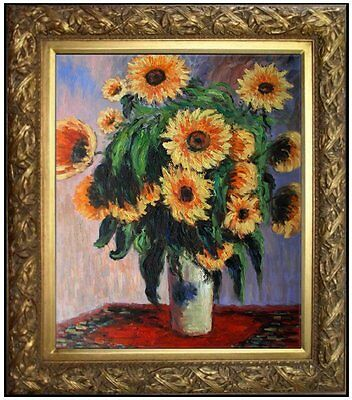 Framed Hand Painted Oil Painting Repro Claude Monet Sunflower 20x24in