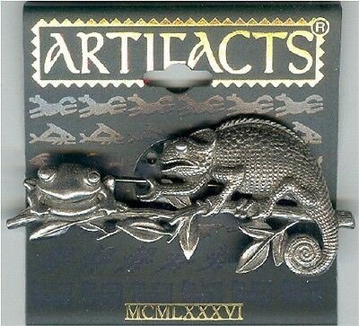 Pewter Lizard & Frog on Branch Pin by JJ - Gift Boxed