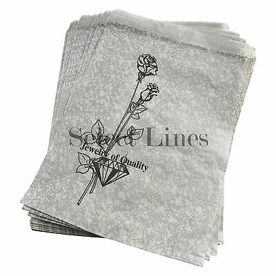 """100 Silver-Tone Rose Jewelry Paper Gift Bags 8.5 x 11"""""""