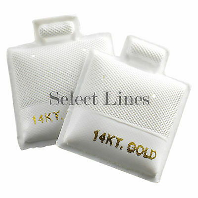 100 14KT Gold White Puff Earring Pad Jewelry Cards 1x1""