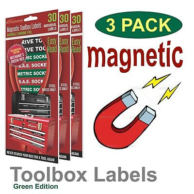 3 Pack Magnetic Toolbox, Tool Chests Labels (3 for $24.00) Green Edition