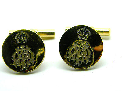 THE 15TH 19TH HUSSARS BUTTON BADGE ENAMEL ARMY MILITARY CUFFLINKS IN GIFT POUCH