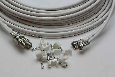 5m White Twin Satellite Extension Cable Lead & Clips Sky Plus, Sky HD, Freesat