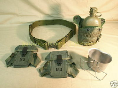 US Military LOT 1 QT CANTEEN, COVER, CUP, AMMO POUCHS w/ LARGE Pistol Web Belt