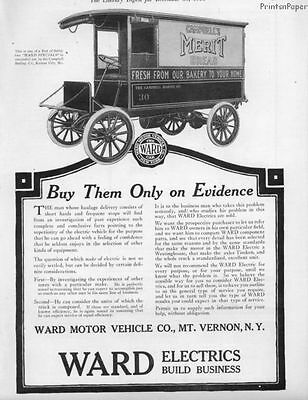 1916 Ward Electric Vehicle Delivery Wagons Print Ad