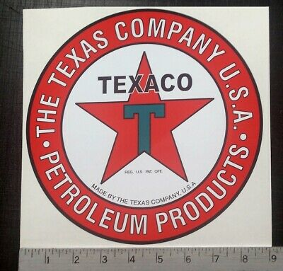"Vintage Texaco Petroleum Products sticker 9"" diameter"