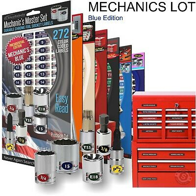 Mechanics Lot - Blue - Magnetic Toolbox Labels + Socket Tags & Tool Organize