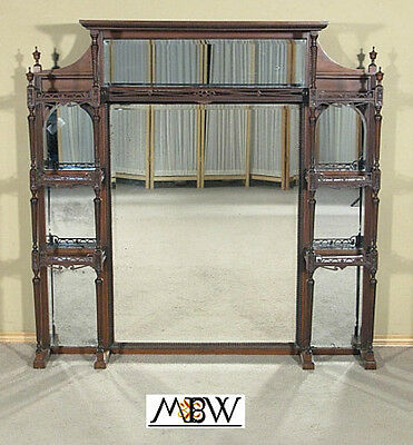 Antique English Mahogany Chippendale Overmantel w/ Mirrors c1899  al21